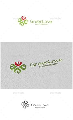 Green Love - Logo Design Template Vector #logotype Download it here: http://graphicriver.net/item/green-love-logo/13181670?s_rank=376?ref=nexion