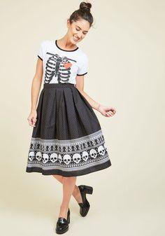 Happy Skull-idays Midi Skirt - Black, Multi, Novelty Print, Casual, Quirky, Skulls, Full, Fall, Woven, Long, Print, Halloween, Rockabilly, Pinup, Vintage Inspired, 50s, Winter, Cotton, Better, Black