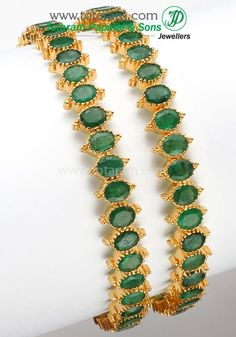 22K Fine Gold Emerald Bangle - Set of  2(1 Pair).