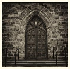 Doorway of First Congregational Church in Ann Arbor, Michigan