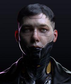 ArtStation - Class Demo - Cyber scifi Character for Cinematic, Val Erbuke Cyberpunk Aesthetic, Arte Cyberpunk, Cyberpunk 2077, Mascara Anime, Photoshop, Futuristic Art, Ex Machina, Sci Fi Characters, Character Portraits