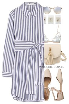 """Wardrobe Staples- Shirt Dress"" by colorful-jovana ❤ liked on Polyvore featuring Gap, WithChic, Elizabeth Scarlett, La Perla, Ray-Ban and T By Alexander Wang"