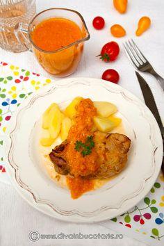 cotlet-de-porc-cu-sos-de-ceapa Romanian Food, Curry, Cooking, Ethnic Recipes, Pork, Cucina, Curries, Kochen, Cuisine