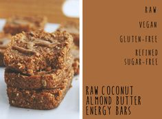 coconut almond butter energy bars // raw, vegan, gluten-free, refined sugar-free