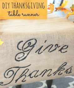 See how to make this simple DIY Thanksgiving table runner - Pretty My Party #Thanksgiving #DIY #table #runner #decor #tutorial #crafts #holidays
