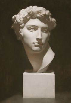 """Michelangelo Bust, 17""""x24"""" oil on linen by Colleen Barry, 2009"""