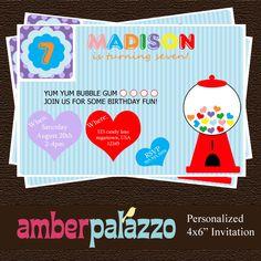 Bubblegum Birthday Invitation - Printable - Personalized via Etsy