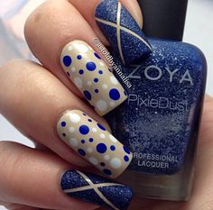 Tan gold and blue mani