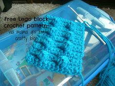 I have Legos on the brain. Maybe it is because that is ALL my kids talk about, or the fact that I threw a Lego themed bi. Crochet Lego, Crochet Crafts, Crochet Projects, Free Crochet, Knit Crochet, Basic Crochet Stitches, Afghan Crochet Patterns, Crochet Squares, Crochet Angels