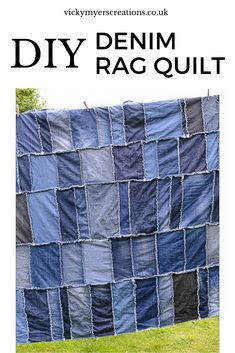 Do you have a big pile of old jeans? Looking for ideas and tutorials to upcycle them? learn how to make a denim rag quilt with great instructions. #Denimquilt