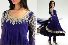 love the sleeves- royal blue anarkali