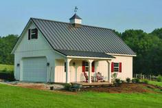 Fabral metal roof: Roofing supply co. Metal Garage Buildings, Pole Buildings, Metal Garages, Custom Garages, Barn House Plans, Barn Plans, Garage Plans, Garage Ideas, Building A Pole Barn