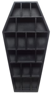 18 tall black Coffin shaped Curio Shelf with 19 compartments 18 tall black Coffin shaped Curio Shelf with 19 compartments Source by marcuslandman The post 18 tall black Coffin shaped Curio Shelf with 19 compartments appeared first on My Art My Home. Goth Home Decor, Easy Home Decor, Gypsy Decor, Creepy Home Decor, Home Decor Accessories, Decorative Accessories, Gothic Accessories, Kitchen Accessories, Gothic Bedroom