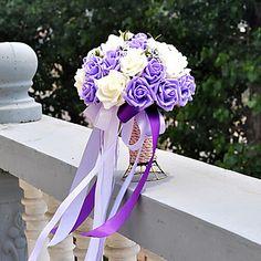 violetti ja valkoinen häät kukkakimppu pe silkki kangas häät ...