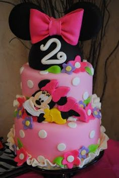 Minnie Mouse cake one of the picks for kerstens first day Mickey And Minnie Cake, Minnie Mouse Birthday Cakes, Minnie Mouse Theme, Mickey Party, Birthday Cake Girls, 2nd Birthday, Birthday Ideas, Mini Mouse Cake, Disney Cakes
