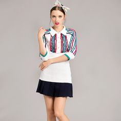 Women Elegant Summer Autumn Half Sleeve Turn-down Neck Strongly Stretched Slim Long Knitted Shirts Striped Shirt High Quality