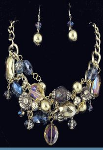 Multi Strand Goldtone Beads & Silver Blue Glass Beads with Earrings Accented in Goldtones $38 @ www.whimzaccessories.com