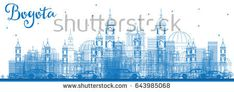 Outline Bogota Skyline with Blue Buildings. Vector Illustration. Business Travel and Tourism Concept with Historic Buildings. Image for Presentation Banner Placard and Web Site.