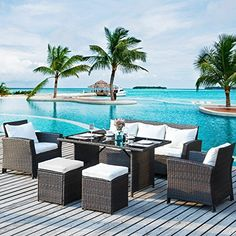 Merax Patio Furniture Dining Set Outdoor Living Wicker Sofa Set (Beige Cushion) >>> Hope you love our photo. (This is an affiliate link) Dining Sofa, Wicker Dining Set, Patio Dining, Patio Chairs, Outdoor Dining, Wicker Patio Furniture Sets, Furniture Dining Table, Wicker Sofa, Rattan