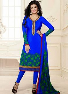 Fabulous Blue Crepe Churidar Suit
