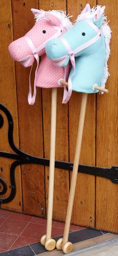 Pastel coloured hobby horse makes a sound