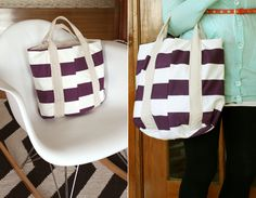 DIY Purple Striped Market Tote