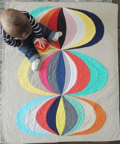 Mid Century Modern Geometric Unisex Baby Quilt and Playmat