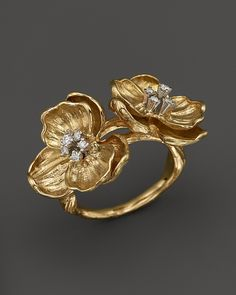 Michael Aram 18K Yellow Gold Sterling Silver Double Orchid Ring with Diamond Accents