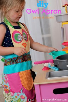 A super cute DIY Owl Apron Tutorial and free pattern. SUCH a fun project and a Simple Sew project!