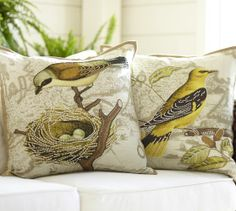 Virginia Bird Embroidered Pillow Cover   Pottery Barn