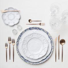 Blue Fleur de Lis Chargers + Signature Collection China + Rose Gold Flatware + Czech Crystal Stemware + Antique Crystal Salt Cellars | Casa de Perrin Design Presentation