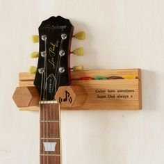 Personalised Solid Oak Guitar Wall Stand with Plectrum Holder Guitar Wall Stand, Guitar Wall Hanger, Guitar Display, Guitar Rack, Wood Projects, Woodworking Projects, Guitar Storage, Diy Wall, Solid Oak