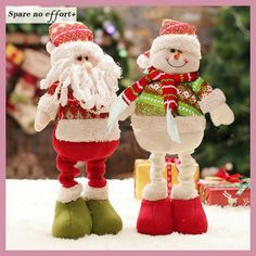 Retractable Christmas Santa Claus/Snowman Dolls Standing Navidad Figurine Christmas tree Ornaments Kids Christmas Gifts Toy