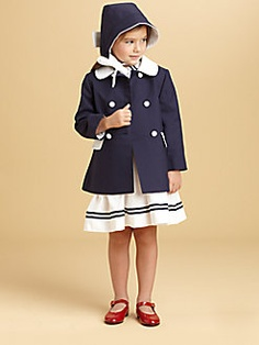 I just died and went to mother-freaking heaven!  Oscar de la Renta - Toddler's & Little Girl's Woven Pique Coat and Bonnet Set