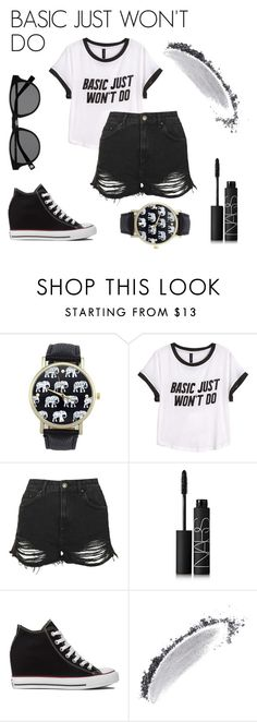"""""""Basic just won't do."""" by thebanshee24 on Polyvore featuring H&M, Topshop, NARS Cosmetics and Converse"""