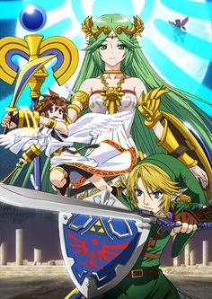 Palutena poster. featuring Pit and the fighter from Hyrule, who is quite impressive indeed... for a mere mortal... #ingameplay #wiiu