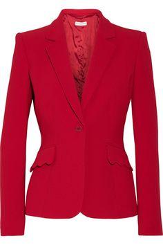 Karmesinroter Crêpe  Knopfverschluss vorne   69 % Triazetat, 31 % Polyester  Trockenreinigung  Designerfarbe: Ruby   Hergestellt in Italien