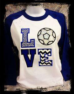 LOVE SOCCER appliqued spirit shirt on baseball style by SPIRITSWAG, $34.95