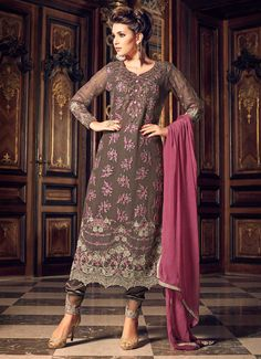 Light Brown and Mauve Embroidered Straight Pant Suit features a georgette kameez, santoon bottom and chiffon dupatta. Embroidery is completed with thread and stone embellishments. Churidar, Salwar Kameez, Indian Dresses, Indian Outfits, Party Wear Dresses, Casual Dresses, Wedding Dresses, Ethnic Trends, Indian Bridal Fashion