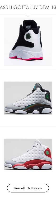 """""""YASS U GOTTA LUV DEM 13S"""" by kayla-0918 ❤ liked on Polyvore featuring shoes, jordans, nike, sneakers, pink shoes, gray shoes, grey shoes, retro shoes, retro style shoes and men's fashion"""