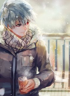 Anime picture 600x819 with tokyo ghoul studio pierrot kaneki ken fuurin single tall image short hair red eyes smile fringe looking away holding grey hair nail polish grey eyes heterochromia fingernails outdoors multicolored eyes nose