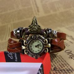 Handmade Vintage Leather Band Watches Woman Wrist Watch with OX-head, Leather Watch Bracelets Big Sale Only $2.99/pcs https://www.akisonshop.com/watch/vintage-leather-bracelet-quartz-wrist-watch-ox-head-style-S015.html