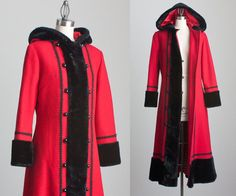 70s Vintage Red And Black Fur Trimmed Russian Princess by decades, $320.00