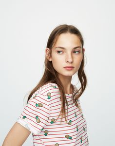 08790ce1ffdfe Striped T-shirt with all-over pineapple print - Short sleeves - T-shirts -  Clothing - Woman - PULL BEAR Turkey