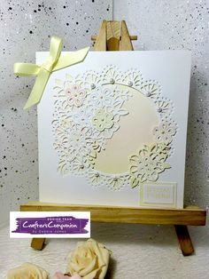 6x6 card made using Crafter's Companion Die'sire Create a Card Die - Flutterby Designed by Debbie James #crafterscompanion