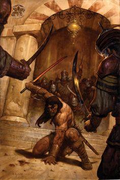 Marvel Comics, Conan Comics, Frank Frazetta, Dark Fantasy Art, Fantasy Artwork, Fantasy Movies, Fantasy Characters, Comic Books Art, Comic Art