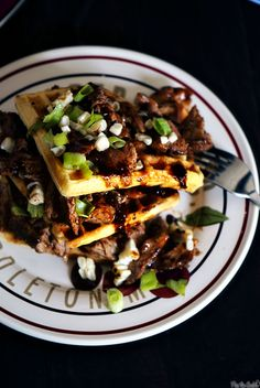 Cornbread waffles. This recipe is much fancier with pork added. Cornbread in a waffle maker! Who would have thought?