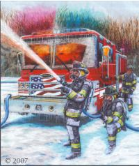 FIRE AND ICE depicts firefighters in freezing weather fighting a fire which is reflected in the windshield of the fire truck. You can count hundreds of ice cycles on the truck formed from the spray from the fire hose.
