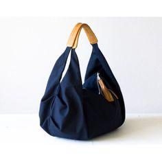 Large hobo bag, shoulder slouch purse in dark blue cotton canvas and light brown leather - Kallia bag