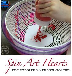 Preschool Valentines Spin Art - Teaching 2 and 3 Year Olds